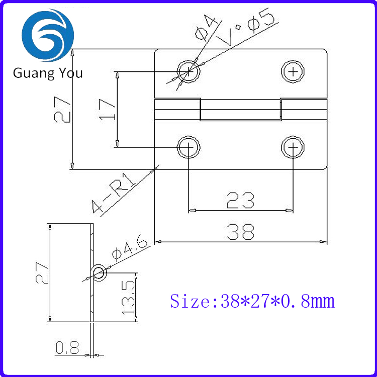 Small stainless steel hinge 38*27*0 8mm, small metal hinges-